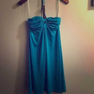 Fancy turquoise halter dress with wooden beads